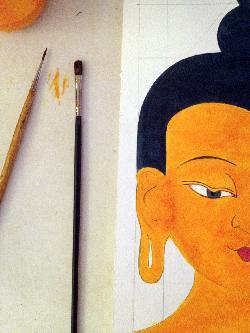 UNA CABEZA DE BUDDHA: Taller de pintura tibetana con Kunsang Tsering.